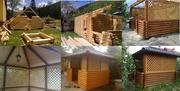 Дерев'яні дачі,  будинки,  альтанки (бесідки),  дитячі майданчики..