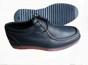 Ботинки мужские синие кожаные комфортные на цветной подошве. Недорого