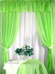 Комплект для кухни Ева Зеленый (шифон-вуаль)