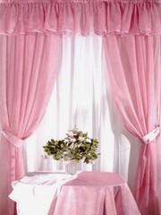 Комплект для кухни Ева Розовый (шифон-вуаль)