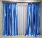 Готовые Шторы Блэкаут Полоса 319Е (голубые)