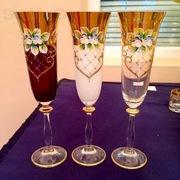 Набор бокалов Богемия 6шт,  смальта,  покрытие 24k gold,  Bohemia crystal